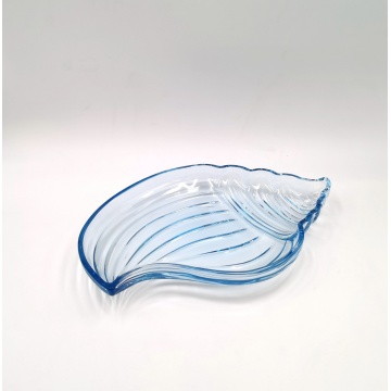 Blue color Glass Conch Shell Shaped Plate