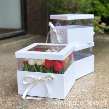New Design Flower Paper Box With PVC Window