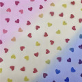 Fancy Rainbow Heart Glitter Fabric Shiny Tulle Mesh
