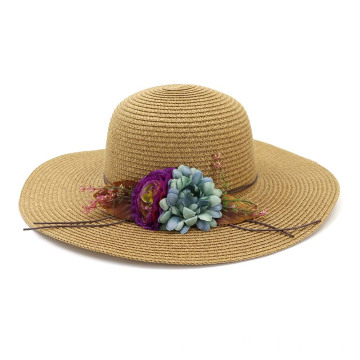 Custom flower summer hat beach straw hat