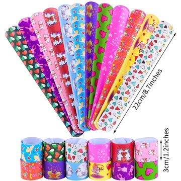 Slap Bracelets with Colorful Hearts Emoji and Unicorn