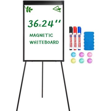 Height Adjustable Whiteboard in Black Flipchart with Hook