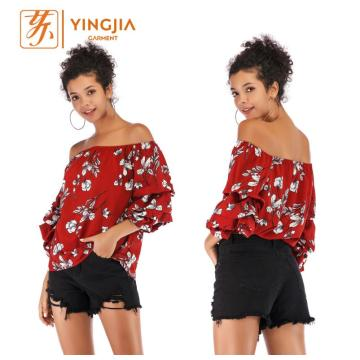 off-shoulder sexy strapless chiffon printing blouse