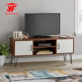 Walnut Wood Metal TV Stand with Shelves