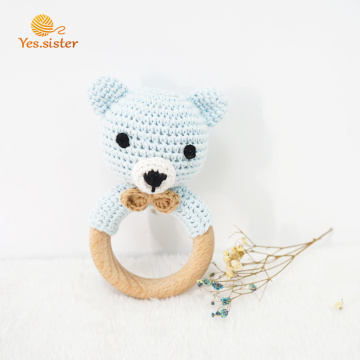 Beech Crochet Animal Wood Teether For Baby