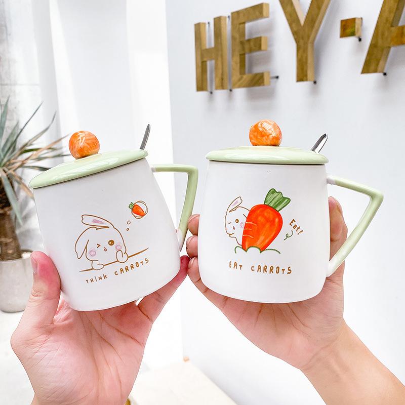 Cartoon cute radish rabbit ceramic cup with lid spoon simple mug small fresh household milk cup