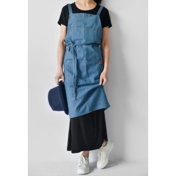 Nordic custom LOGO denim sleeveless neck apron