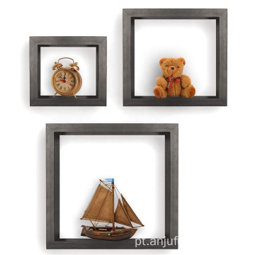 Square Shaped Wooden Hanging Floating Cube Decorative Wall Shelf