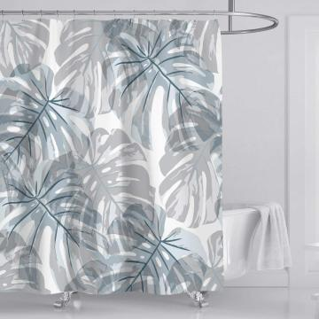 Elegant Fresh Olive Leaves Shower Curtain Simple Popular Shower Curtain Waterproof Opaque Odorless Shower Curtain Set with 12