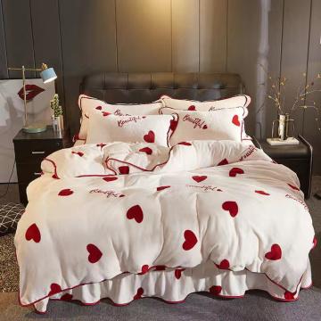 JUSTCHIC Thicken Mink Cashmere Duvet Cover Winter Warm Flannel Bedding Stripe Lattice Love Printing Quilt Comforter Set