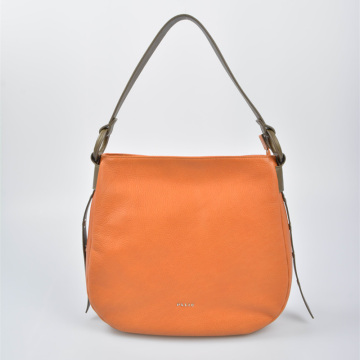 Leather Woman Hobo Shoulder Bag in contrast color