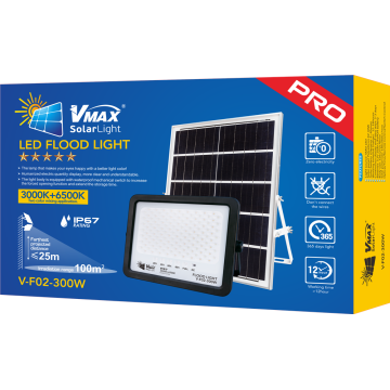 Inteligent light control solar flood light with remote