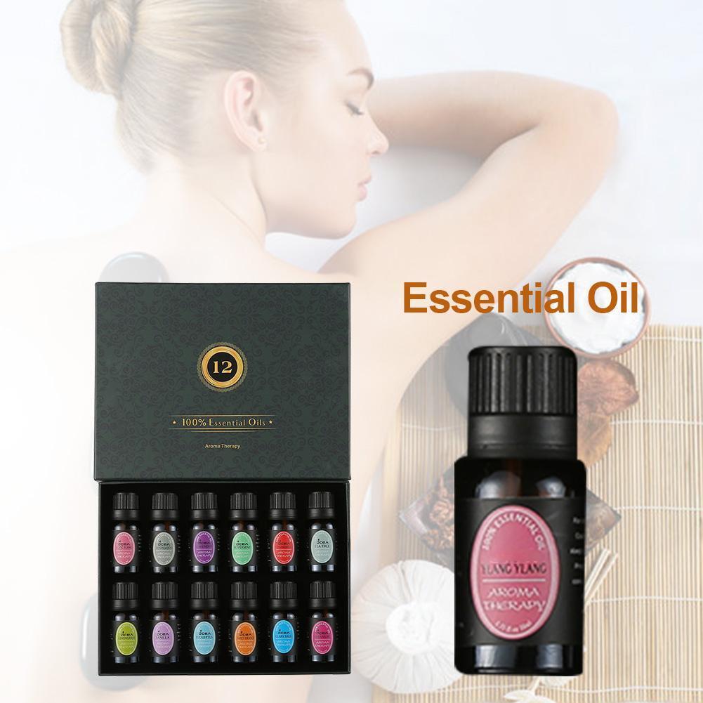 10ML 12PCS Essential Oil Set 100% Pure Aromatherapy Pure Natural Plant Lavender Tea Tree Peppermint Eucalyptus Essential Kit