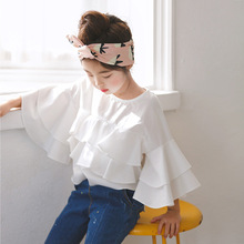 2021 New Spring Cotton Ruffles White Teenage Kids Girls Blouses Shirts Baby Clothes School Autumn Summer Children Fashion Tops