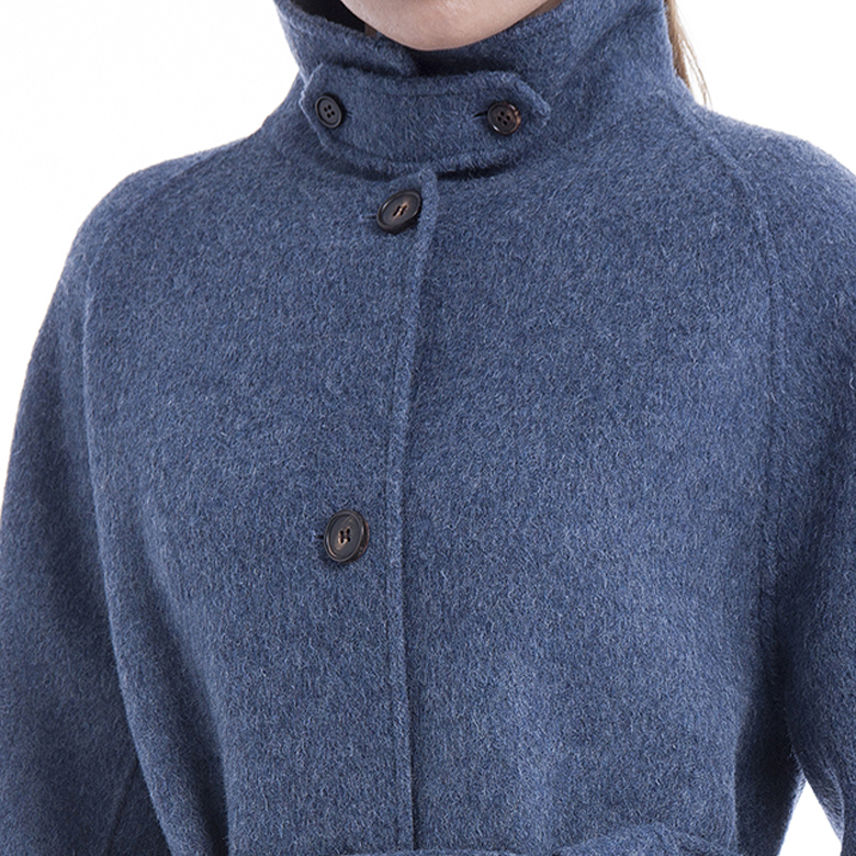 Single-breasted blue cashmere winter coat