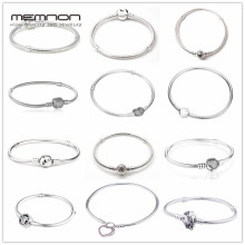 Memnon 925 Sterling Silver Original 12 Styles Chain Bracelets Bangles for Women Fit DIY Charm Bead Authentic Fine Jewelry Gift