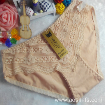 OEM wholesale new style apricot sexy comfortable lace cotton fancy panty 557