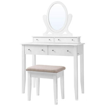 Vanity Table Set 4 Drawers Wooden mirrored Dressing Table with Large Stool