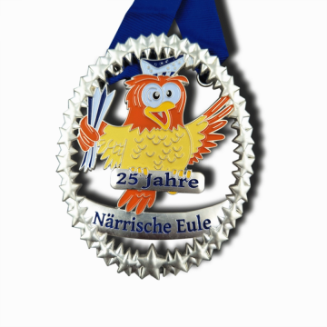 Custom enamel cute animal owl medal
