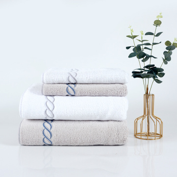 big gram plain color embroidery cotton towel set