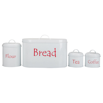 White Kitchen Storage Canister Jars Set