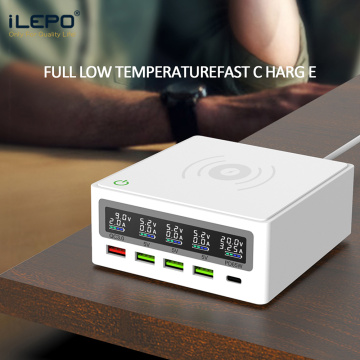 iLEPO 5 Ports QC3.0 USB Type C PD 65W Power Adapter LCD Qi Wireless Charger Cellphone Fast Charger Station For Laptop Tablet