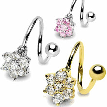 CZ Flower Spiral Rings Navel Twist Barbell