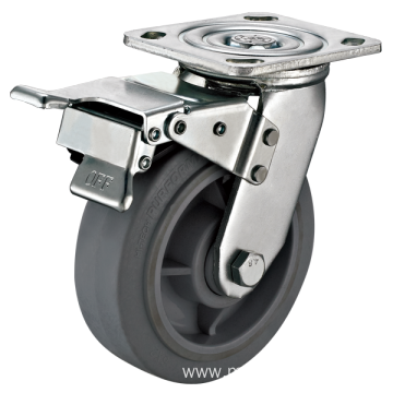 8inch Swivel Heavy duty Flat TPR Casters With Top Brake