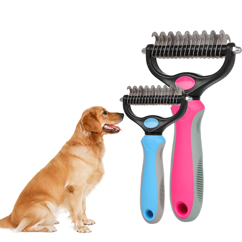Double-sided Pet Cat Dog Comb Brush Professional Open Knot Rake Knife Pet Grooming Products Hair Fur Shedding Trimmer