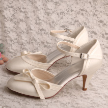 Ladies Ivory Satin Wedding Footwear Cone Heel Size 5