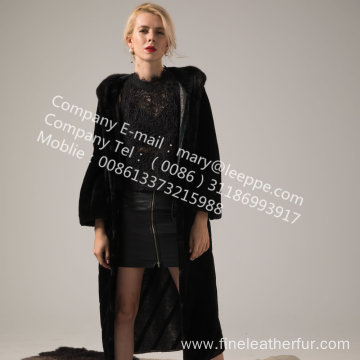 Hooded Kopenhagen Mink Fur Coat Winter For Lady