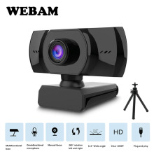 Webcam HD 1080P Fixed Focus USB Web Camera with Microphone Light Tripod for Live Broadcast Video Calling Conference Work New