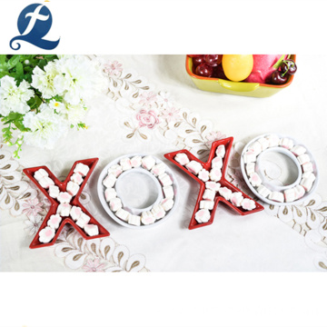 Wholesale Price Letter Design Candy Plate Dishes Ceramic Decoration Tray