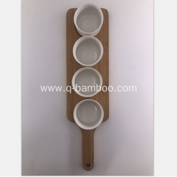 Wooden food tray with ceramic bowl set
