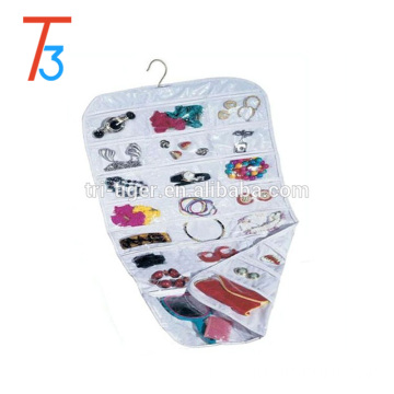 37-Pocket Fabric Hanging Accessories and clear plastic Jewelry Organizer