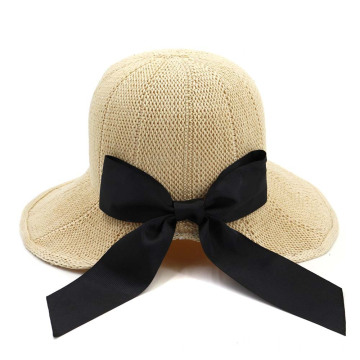 Floppy large bowtie adjustable beach straw hat