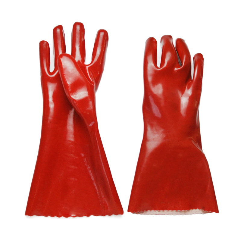 Red PVC coated gloves smooth finish 35cm