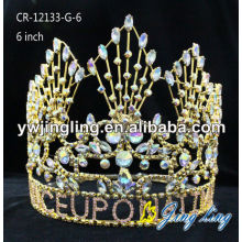 Gold Plated AB RhinestonePageant crowns for sale