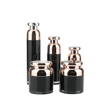 Empty Noble Black Acrylic Cosmetic Bottle And Jar