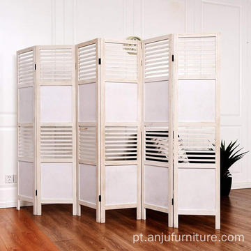White Screen Paulownia Wood Folding Privacy Screen Room Divider (6 Panel)