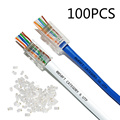 100pcs/Lot RJ45 Network Modular Plug 8P8C CAT5e CAT6 Cable Connector End Pass Through