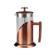 Copper Stainless Steel Frame Glass French Press CoffeeMaker