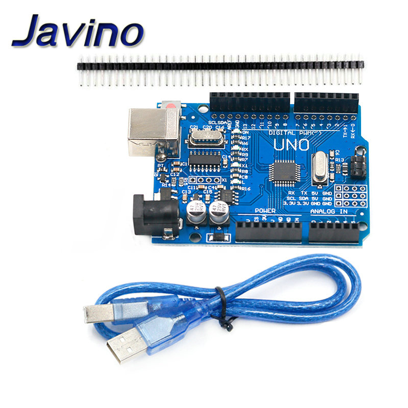 high quality One set UNO R3 CH340G+MEGA328P Chip 16Mhz For Arduino UNO R3 Development board + USB CABLE DIY KIT