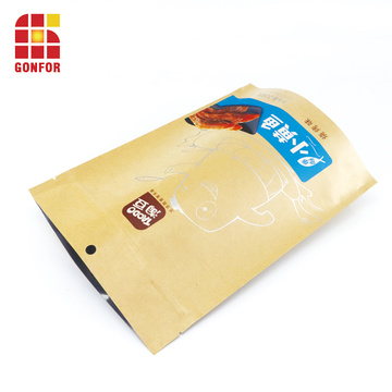 Kraft paper stand up bag for food fried fish packaging