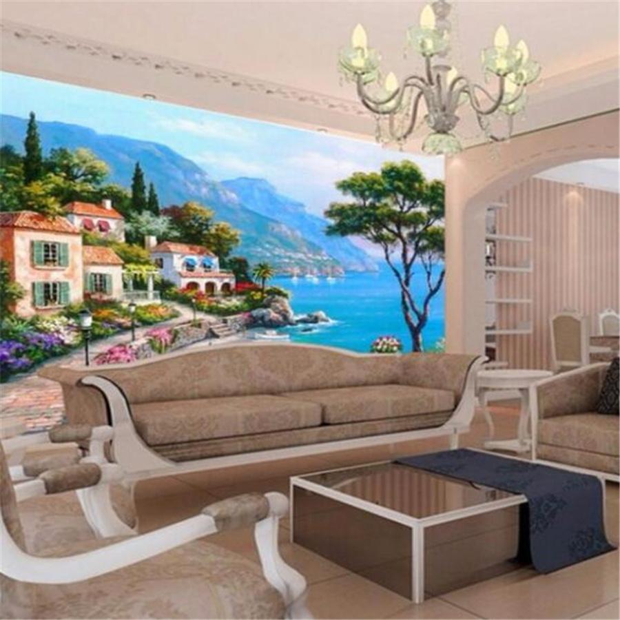 wellyu Custom Wallpaper 3d Large Photo Mural обои Mediterranean Sea Garden Landscape Oil Painting TV Background Wallpaper mural