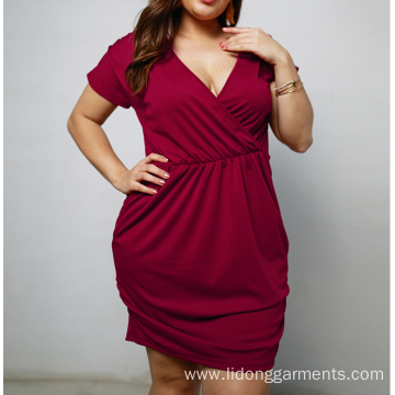 Women Plus Sizes Cheapest Polyester Dress