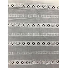 Bars Cotton Embroider Fabric