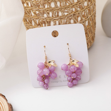 Summer Sweety Fresh Purple Grape Earrings Temperature Simple Style Cute Fruit Accessories Oorbellen Boucle D'oreille