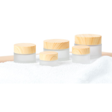 Wood grain glass frosted face cream bottled separately