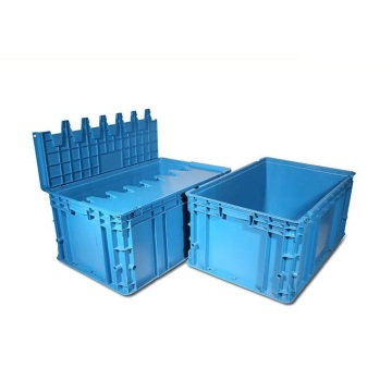 Hinged lidded plastic crate injection moulds
